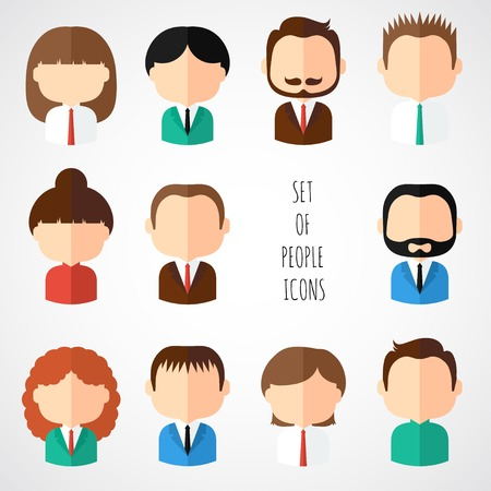 Set of colorful office people icons. Businessman. Businesswoman. Man. Woman. Trendy flat style. Funny cartoon faces characters for your design. Collection of cute avatar. Vector illustration. Ilustração