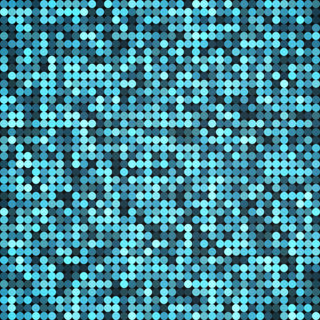 Vector silver abstract retro vintage pixel mosaic background of sparkling sequins for design. Blue disco shiny lights. Multicolor circles texture. Vector