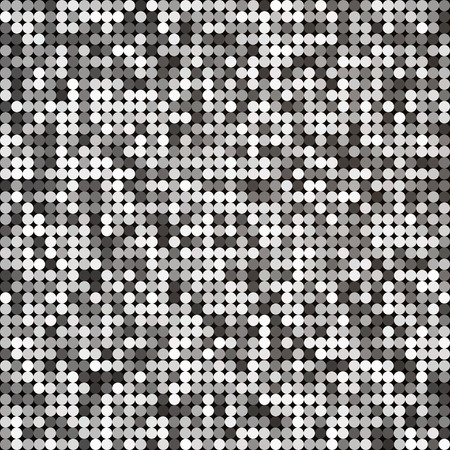 Vector silver abstract retro vintage pixel mosaic background of sparkling sequins for design. Disco shiny lights. Multicolor circles texture.
