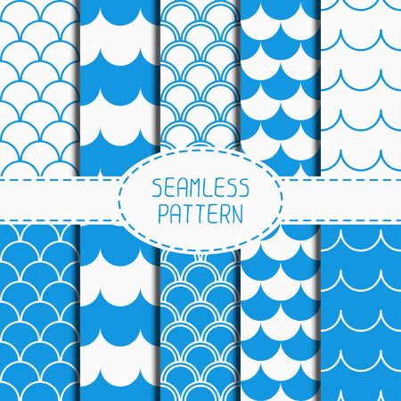 waves pattern: Set of seamless retro vintage blue marine geometric line pattern. Tiling. Collection of wrapping paper. Paper for scrapbook. Wave background. Stylish graphic texture for your design for wallpaper. Beautiful vector illustration.