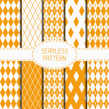 Set of geometric yellow orange seamless pattern with rhombus, square. Collection of wrapping paper. Paper for scrapbook. Beautiful vector background. Tiling. Stylish graphic texture for your design, wallpaper. Illustration