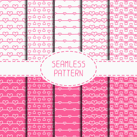 ollection: Set of pink romantic seamless pattern with hearts. Collection of wrapping paper. Paper for scrapbook. Vector background. Tiling. Hand drawn doodles. Stylish graphic texture for your design, wallpaper.