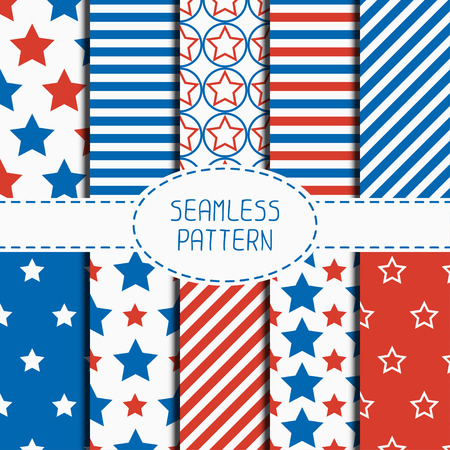 stars and stripes background: Set of geometric patriotic seamless pattern with red, white, blue stars. American symbols. USA flag. 4th of July. Wrapping paper. Paper for scrapbook. Tiling. Vector nautical starry background.