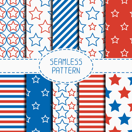 red white blue: Set of geometric patriotic seamless pattern with red, white, blue stars. American symbols. USA flag. 4th of July. Wrapping paper. Paper for scrapbook. Tiling. Vector nautical starry background.