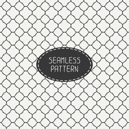 Geometric monochrome lattice seamless arabic pattern. Islamic oriental style. Wrapping paper. Scrapbook paper. Tiling. White vector illustration. Moroccan background. Swatches. Graphic texture.