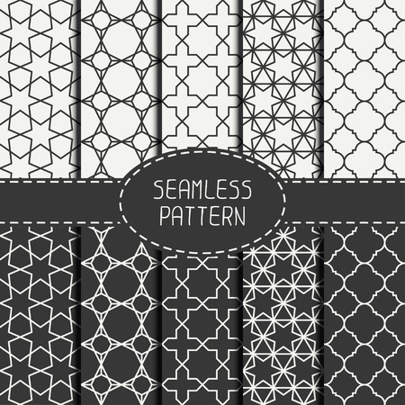 Set of geometric monochrome lattice seamless arabic pattern. Islamic oriental style. Wrapping paper. Scrapbook paper. Tiling. White vector illustration. Moroccan background. Swatches. Graphic texture.