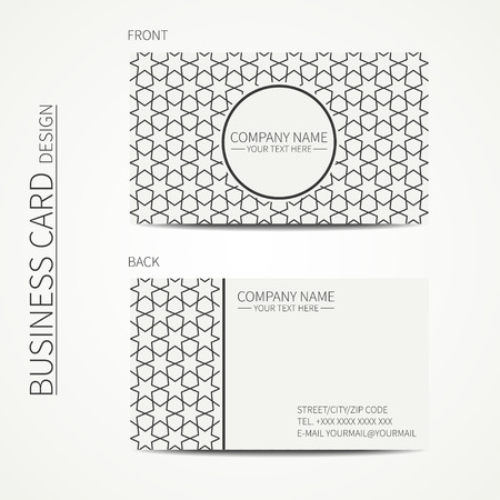 Geometric Lattice Monochrome Business Card Template With Stars ...