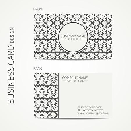 Geometric Lattice Monochrome Business Card Template With Stars ...