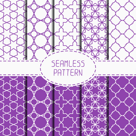 delicate arabic motif: Set of geometric lattice seamless arabic pattern. Islamic oriental style. Wrapping paper. Scrapbook paper. Tiling. White vector illustration. Moroccan background. Swatches. Graphic texture.