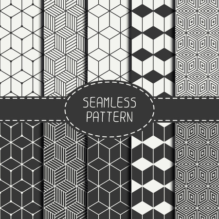 geometric lines: Set of geometric abstract seamless cube pattern with rhombuses. Wrapping paper. Paper for scrapbook. Tiling. Vector illustration. Background. Graphic texture with optical illusion effect for design.