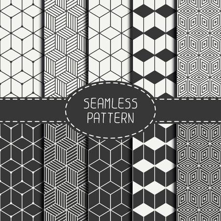 Set van geometrische abstracte naadloze kubus patroon met ruiten. Inpakpapier. Papier voor plakboek. Tegelwerk. Vector illustratie. Achtergrond. Grafische textuur met optische illusie effect voor het ontwerp.