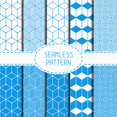 Set of geometric abstract seamless cube pattern with rhombuses. Wrapping paper. Paper for scrapbook. Tiling. Vector illustration. Background. Graphic texture with optical illusion effect for design.