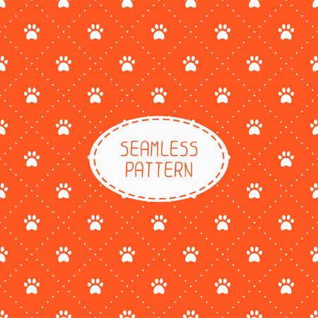 huellas de perro: Modelo inconsútil con las huellas de animales, gato, perro. Papel de regalo. Papel para bloc de notas. Revestimientos. Ilustración vectorial traza con la pata imprime. Antecedentes. Textura gráfica con estilo para el diseño, fondo de pantalla. Vectores