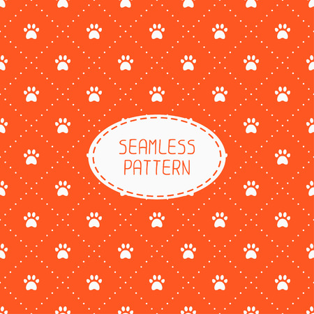 cute animals: Seamless pattern with animal footprints, cat, dog. Wrapping paper. Paper for scrapbook. Tiling. Vector illustration traces with paw prints. Background. Stylish graphic texture for design, wallpaper.