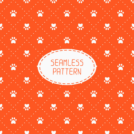 Seamless pattern with animal footprints, cat, dog. Wrapping paper. Paper for scrapbook. Tiling. Vector illustration traces with paw prints. Background. Stylish graphic texture for design, wallpaper.