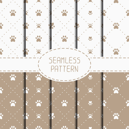 dog food: Set of seamless pattern with animal footprints, cat, dog. Wrapping paper. Paper for scrapbook. Tiling. Vector illustration traces with paw prints. Background. Stylish graphic texture for design. Illustration