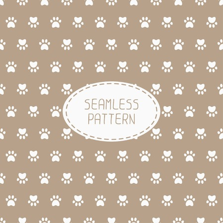 wrapping animal: Seamless pattern with animal footprints, cat, dog. Wrapping paper. Paper for scrapbook. Tiling. Vector illustration traces with paw prints. Background. Stylish graphic texture for design, wallpaper.