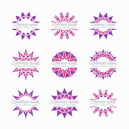 simple logo: Simple pink geometric abstract symmetric shapes set. Modern business icon collection. Logo template. Hexagon round ornament. Trendy vector symbols, emblems, element and logotypes. Illustration