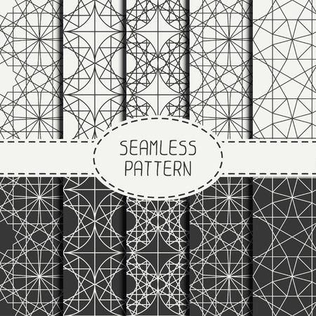 religious: Set of geometric line lattice seamless arabic pattern. Islamic oriental style. Collection of wrapping paper. Scrapbook paper. Tiling. Vector illustration. Moroccan background. Swatches. Graphic texture. Illustration