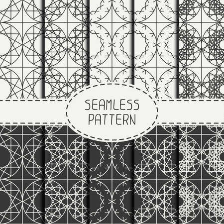 arabisch patroon: Set of geometric line lattice seamless arabic pattern. Islamic oriental style. Collection of wrapping paper. Scrapbook paper. Tiling. Vector illustration. Moroccan background. Swatches. Graphic texture. Stock Illustratie