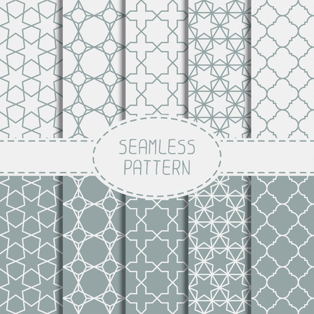 Set of geometric line lattice seamless arabic pattern. Islamic oriental style. Collection of wrapping paper. Scrapbook paper. Vector illustration. Moroccan background. Swatches. Graphic texture. Vettoriali