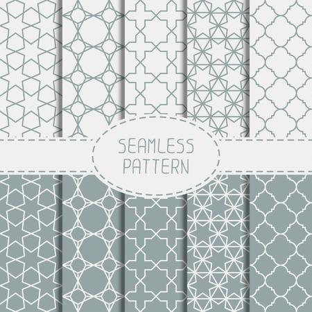 Set van geometrische lijn rooster naadloze Arabisch patroon. Islamitische oosterse stijl. Het verzamelen van inpakpapier. Scrapbook papier. Vector illustratie. Marokkaanse achtergrond. Stalen. Grafische textuur.