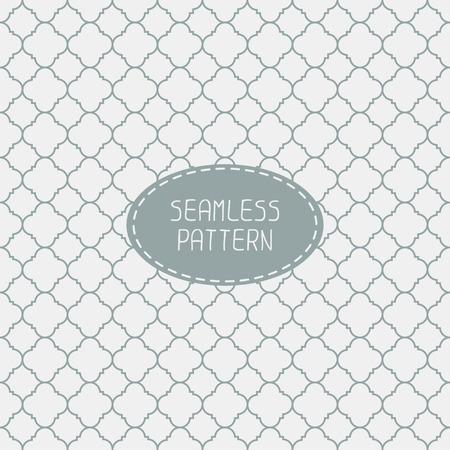 Geometrisch lijn monochroom rooster naadloze Arabisch patroon. Islamitische oosterse stijl. Inpakpapier. Scrapbook papier. Tegelwerk. White vector illustratie. Marokkaanse achtergrond. Stalen. Grafische textuur.