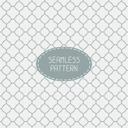 Geometric line monochrome lattice seamless arabic pattern. Islamic oriental style. Wrapping paper. Scrapbook paper. Tiling. White vector illustration. Moroccan background. Swatches. Graphic texture.