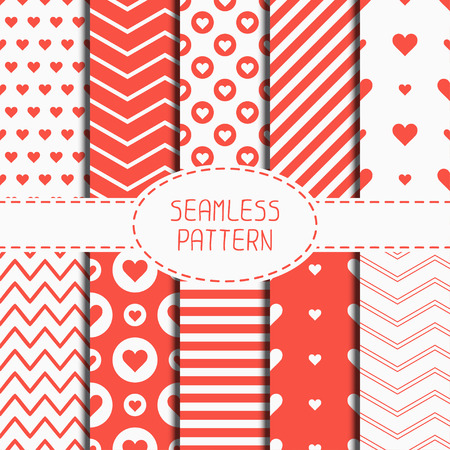 paper  texture: Set of romantic geometric seamless pattern with hearts. Collection of wrapping paper. Scrapbook paper. Tiling. Vector illustration. Background. Graphic texture. Valentines day. Chevron zigzag stripes.