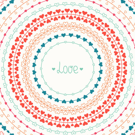 Hand drawn vector line border, frame set and scribble design element. Valentine day vintage romantic pattern with hearts. Trendy doodle style. Beautiful vector illustration. Background. Graphic texture for your design.