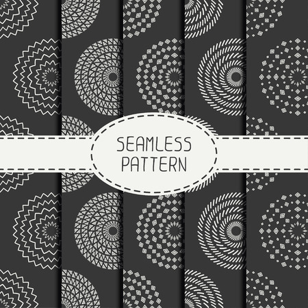 Set of  geometric monochrome art hipster line seamless pattern with circle, round. Collection of wrapping paper. Scrapbook paper. Tiling. Beautiful vector illustration. Background. Graphic texture.