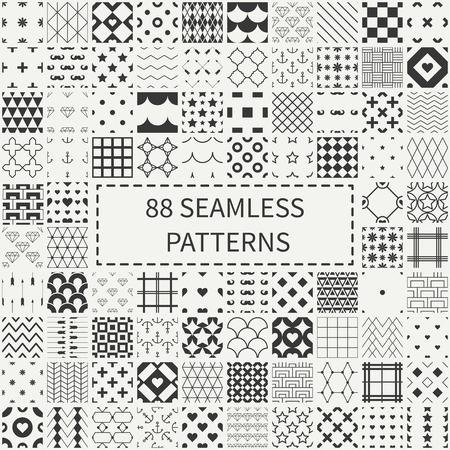 Mega conjunto de 88 diferentes patrones decorativos sin costura universales geométricas. Papel de regalo. Papel del libro de recuerdos. Embaldosado. Colección de fondos del vector. Un sinfín de textura adornos gráficos para el diseño. Ilustración de vector