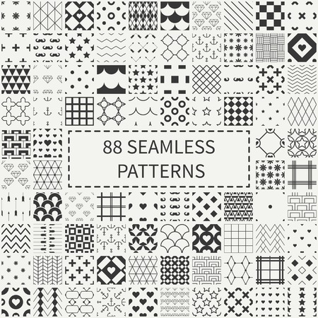 Mega set of 88 geometric universal different seamless decorative patterns. Wrapping paper. Scrapbook paper. Tiling. Vector backgrounds collection. Endless graphic texture ornaments for design.