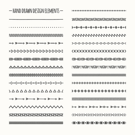 illustration line art: Ethnic hand drawn vector line border set and hipster scribble design element. Native brushes. Aztec geometric monochrome vintage fashion pattern for design. Illustration. Doodle style.
