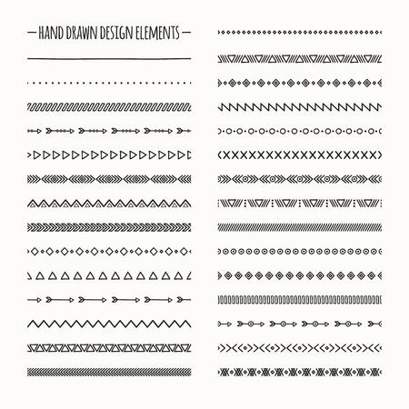 lijntekening: Etnische hand getekende vector lijngrens set en hipster krabbel design element. Inheemse borstels. Aztec geometrische zwart-wit vintage mode patroon voor design. Illustratie. Doodle stijl. Stock Illustratie