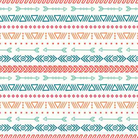 native: Hand drawn geometric ethnic seamless pattern. Wrapping paper. Scrapbook paper. Doodles style. Tiling. Tribal native vector illustration. Aztec background. Stylish ink graphic texture.