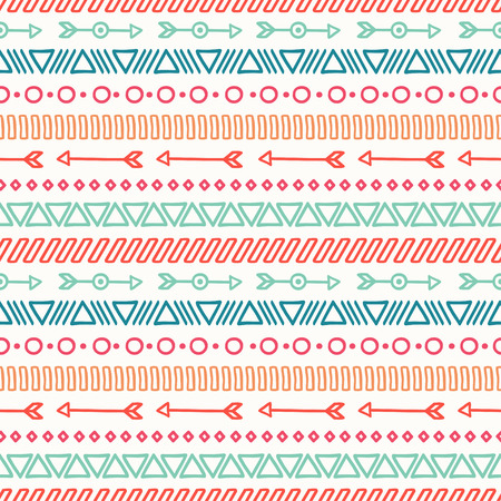 Hand drawn geometric ethnic seamless pattern. Wrapping paper. Scrapbook paper. Doodles style. Tiling. Tribal native vector illustration. Aztec background. Stylish ink graphic texture.