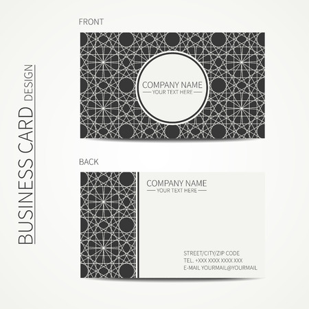 Geometric lattice monochrome business card template for design. Arabic pattern. Islamic oriental style. Moroccan business card. Trendy calling card. Vector design.