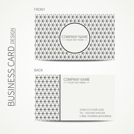 calling card: Geometric monochrome business card template with triangle for design. Polygon pattern. Business card. Trendy calling card. Vector design.