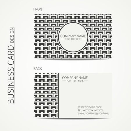calling card: Geometric monochrome business card template with square pattern for design. Polygon pattern. Business card. Trendy calling card. Vector design.