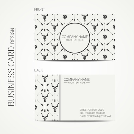 calling card: Geometric monochrome business card template with with ethnic arrows, skull for your design. Tribal native business card. Trendy calling card. Vector design. Illustration
