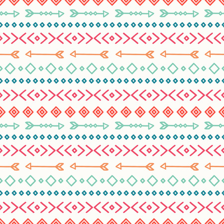 tribales: Dibujado a mano geom�trica patr�n transparente �tnica. Papel de regalo. Papel del libro de recuerdos. Estilo Doodles. Revestimientos. Tribal ilustraci�n vectorial nativo. Fondo azteca. Tinta elegante textura gr�fica. Vectores