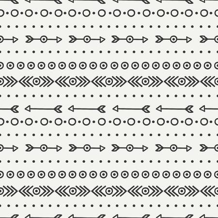 손 기하학적 민족 원활한 패턴을 그려. 포장지. 스크랩북 종이. 낙서 스타일. 기와. 부족의 고유 벡터 일러스트 레이 션입니다. 아즈텍 배경입니다. 세 일러스트