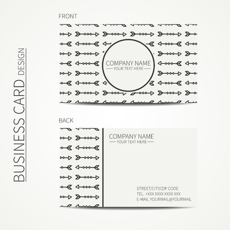 calling card: Geometric monochrome business card template with ethnic arrows for your design. Tribal native business card. Calling card. Vector design. Illustration