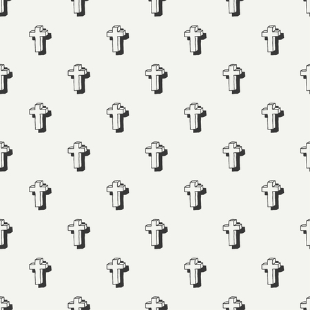 cross mark: Happy Halloween. Hand drawn seamless pattern with cross. Trick or treat. Wrapping paper. Scrapbook paper. Doodles style. Tiling. Vector illustration. Background. Ink graphic texture. Illustration