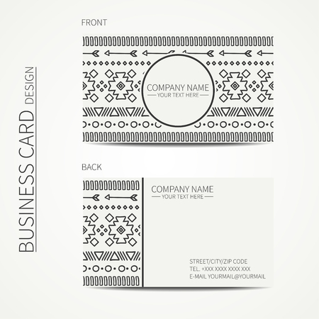 calling card: Geometric monochrome business card template with ethnic pattern for your design. Tribal native business card. Calling card. Vector design. Illustration