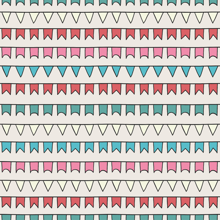 bunting flags: Hand drawn vector seamless pattern with bunting flags. Sketch scribble design graphic element. Tiling texture for design. Illustration. Trendy doodle style. Scrapbook decorations.