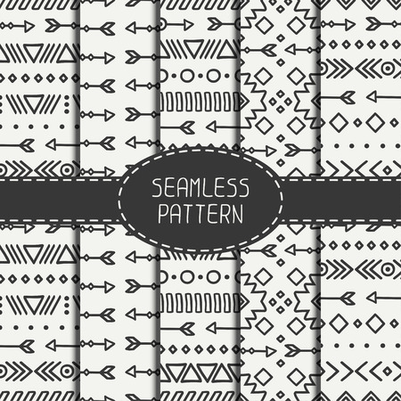 ancient geometric: Set of hand drawn geometric ethnic seamless pattern. Wrapping paper. Scrapbook paper. Doodles style. Tiling. Tribal native vector illustration. Aztec background. Stylish ink graphic texture. Illustration