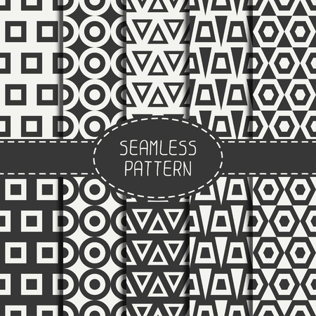 delta cell: Set of line polygon abstract hipster seamless pattern. Geometric figures, shape, form. Wrapping paper. Scrapbook paper. Tiling. Vector illustration. Background. Graphic texture for design.