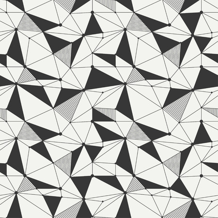 delta cell: Geometric line hipster seamless pattern with triangle and circles Illustration